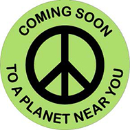 coming soon peace sign button