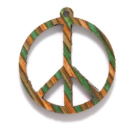 wood peace pendant