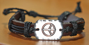 leather peace bracelet